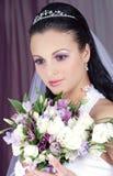 Bride flowers. Portrait bride flowers crown earrings Royalty Free Stock Image