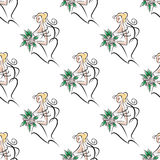 Bride with flowers bouquet seamless pattern Royalty Free Stock Photos