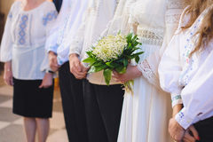 Bride with Flowers at Church Royalty Free Stock Image
