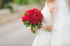 Bride with Flowers in Street Stock Photos
