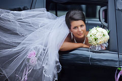 Bride with the fluttering veil Stock Photography