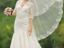 Bride with Flying Veil Stock Photography