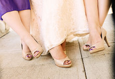 Bride Focus on Feet. Every bride loves the Foot shot for her wedding.. This classic shot can be used for wedding blogs, health and beauty magazines, trendy Royalty Free Stock Photography