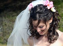 Bride with Frangipanis in Hair. Bride with white veil and frangipanis in hairlooking down Royalty Free Stock Image