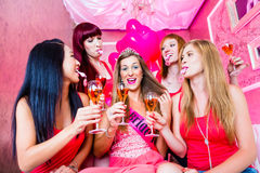 Bride and friends celebrating hen night Royalty Free Stock Photo