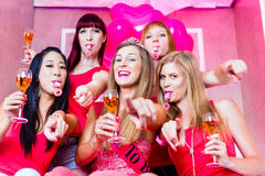 Bride and friends celebrating hen night Stock Image