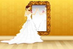 Bride in front of Mirror Royalty Free Stock Photos