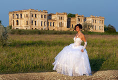 Bride in front of the palace ruins Stock Image