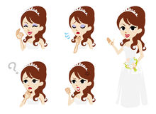 Bride full length and Facial expression set Stock Image