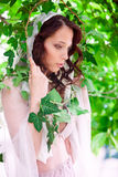 Bride in garden. Sensual young woman in pastel pink underwear and bride's veil in summer garden Royalty Free Stock Photos