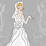 Bride Gazes On Her Diamond Wedding Wing. An image of a wedding bride gazing on her diamond wedding ring Royalty Free Stock Photography