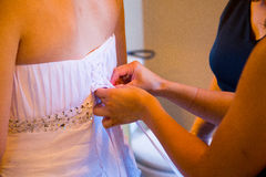 Bride Getting Dress On Royalty Free Stock Photo