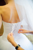 Bride getting dressed Stock Image