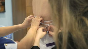 A bride getting dressed up for the wedding stock video footage