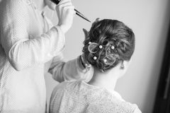 Bride getting her hair done before wedding Royalty Free Stock Images