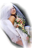 Bride Getting out of Limo Stock Photo