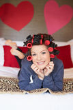 Bride Getting Ready For Wedding With Hair In Curlers Stock Photography