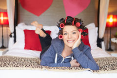 Bride Getting Ready For Wedding With Hair In Curlers Royalty Free Stock Photo