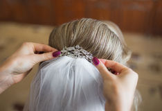 Bride getting ready for wedding in hair Stock Photos