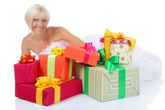 Bride with gifts Royalty Free Stock Photos