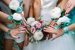 Bride and girlfriends with ribbons stock photos