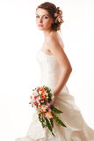 Bride glanses over her shoulder Royalty Free Stock Photography