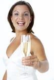 bride glass portrait toasting wine Στοκ Εικόνα