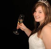 Bride with glass of wine Royalty Free Stock Photo