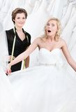 Bride goes into raptures. While seeing her wedding gown royalty free stock image