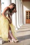 Bride in golden gown Royalty Free Stock Image