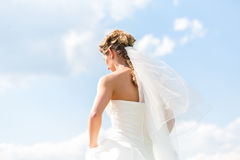 Bride in gown with bridal veil Royalty Free Stock Photos