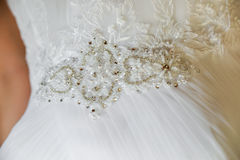 Bride gown details. Fruits arrangements on table for wedding reception, birthday party or other events Royalty Free Stock Photography