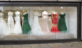 Bride gowns and elegant dresses in Hamburg Royalty Free Stock Images