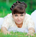 The bride is on the grass Stock Images
