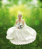 Bride on green grass collage Royalty Free Stock Photo