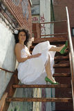 Bride with green shoes Royalty Free Stock Image
