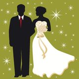 Bride and Groom. Bride with flowers with groom beside stars behind Stock Photos