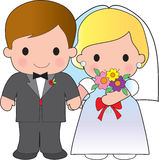 Bride and Groom. Illustration of an adorable groom and his bride Royalty Free Stock Photography