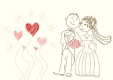 Bride and groom. Simple vector drawing of a happy couple Stock Images