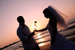 Bride and groom. Groom giving a flower to his bride, sunrise on the beach Stock Photo
