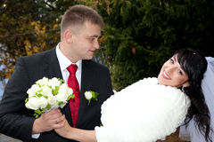 Bride and groom. Couple outdoor royalty free stock photos