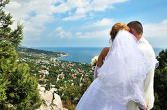 Bride and groom. Looking ahead from the high point stock image