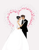 Bride and Groom. Vector illustration of a bride and a groom standing together hearts around them Royalty Free Stock Photos