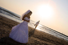 Bride and groom. Walking on the beach royalty free stock images