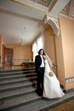 Bride and groom. Couple indoor stock photo