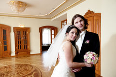 Bride and groom. Couple indoor stock images