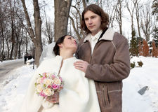 Bride and groom. Couple outdoor stock image