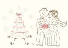 Bride and groom. Wedding cake and happy bride and groom Stock Image