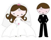 Bride and groom. Cute illustration of a bride wearing beautiful white bridal dress and holding pink flower. She has a lovely small crown on her head. and cute Royalty Free Stock Photo