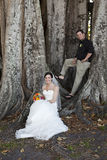 Bride and groom. A bride and groom posing under a large Banyan tree Royalty Free Stock Image